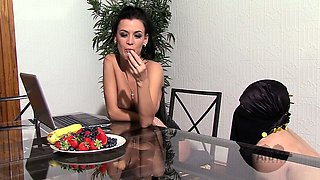 Mistress instructs Arab slave to eat fruit off her