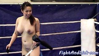 Asian lezzie straponfucking wrestling beauty