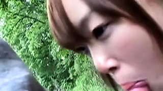 Japanese student outdoor blowjob