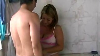 Chubby amateur girlfriend fucked in the bathroom by a big cock