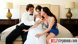 Bride to be threeway with her fiancee and big tits milf