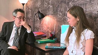 Elegant schoolgirl was tempted and pounded by aged tutor