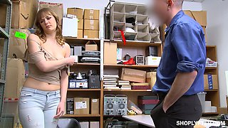 Busty blonde Sailor Luna forced to suck and fuck for shoplifting