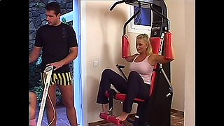 Two hot milfs in gym receive training fuck from lucky dude