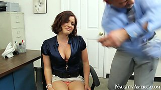 Kinky busty female boss Krissy Lynn swallows sugary cock of Bill Bailey in the office