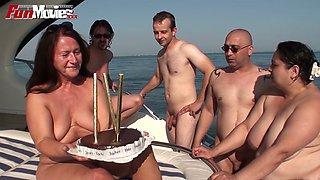 BBW and grannie having dirty sex fun on a yacht