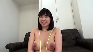 Big breasted Japanese girl in fishnets takes a deep drilling