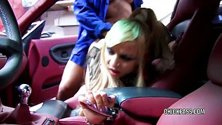 Latina hottie Melody Star is getting banged in a car