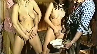 Dirty white European bitches love pissing orgy with dirty guys