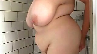Beautiful BBW milf in the shower playing with her big tits