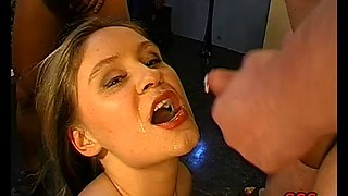Gorgeous German chick with big natural tits and a shaved pierced pussy enjoying a hardcore threesome