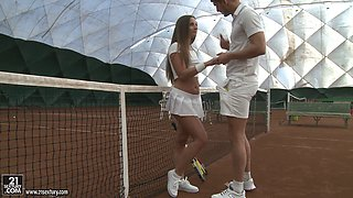 Sexy tennis babe threesome on the court with big cock guys