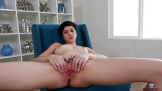 Petite tight ass dark haired chick gives her clit a good ride
