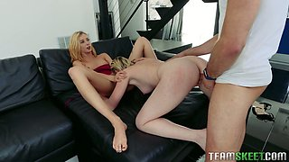 Stunning blonde Haley Reed arranges dirty threesome for her boyfriend