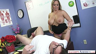 Provocative mommy Amber Lynn Bach fucks a hot guy in the office