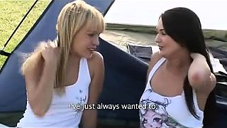 Outdoor lesbian teens lick and finger pussy during car wash